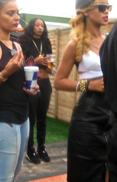 Rihanna chatting backstage
